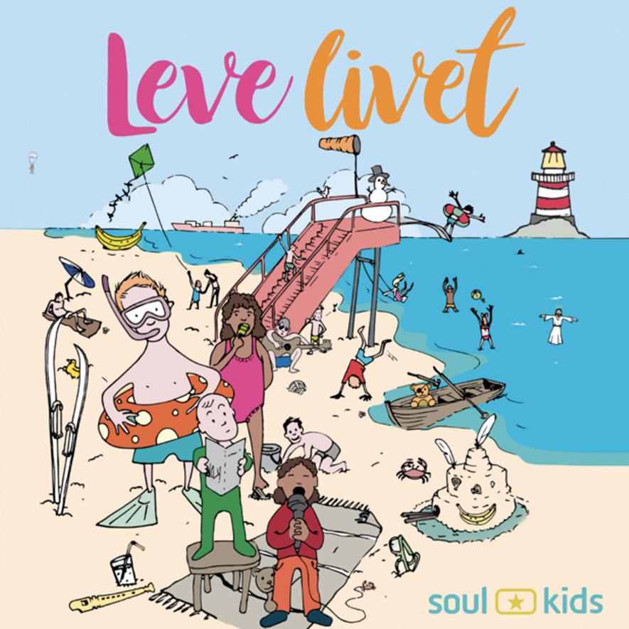 Leve Livet albumcover. Illustrasjon av barn på strand.