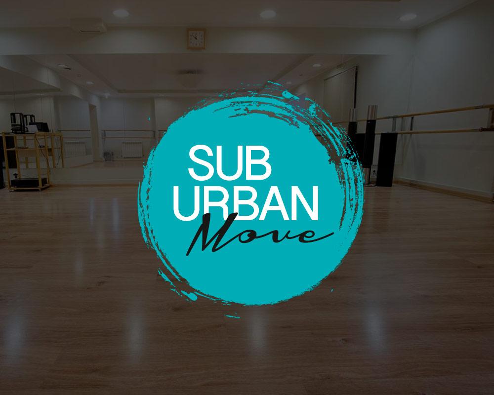 SubUrban Move-logo med dansehall i bakgrunnen