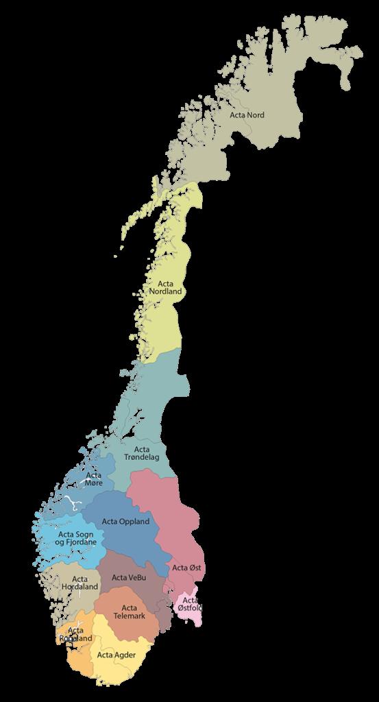 Kart over Norges Acta-regioner