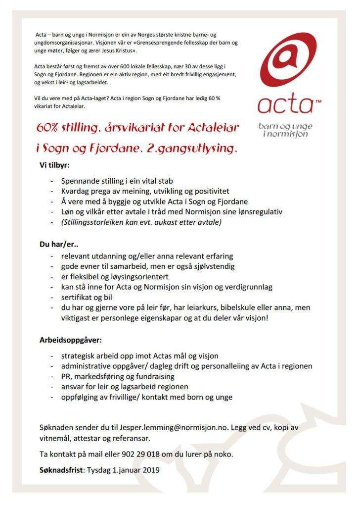 Stillingsutlysning for Actaleder-vikar